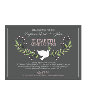 Dove Pink Baptism Invitation