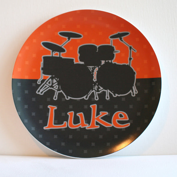 drums personalized melamine plate