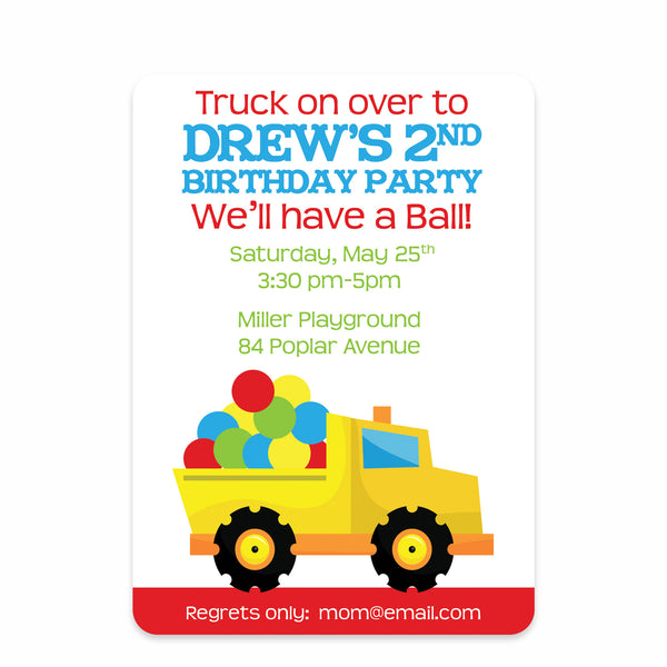Dump Truck and Ball Birthday Invitation | Swanky Press | Front