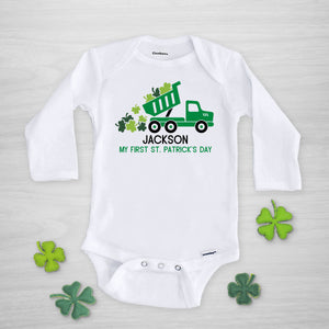 Dump Truck with Shamrocks St. Patrick's Day Personalized Gerber Onesie, long sleeved