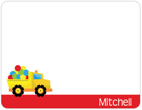 Dump truck yellow with red flat note card