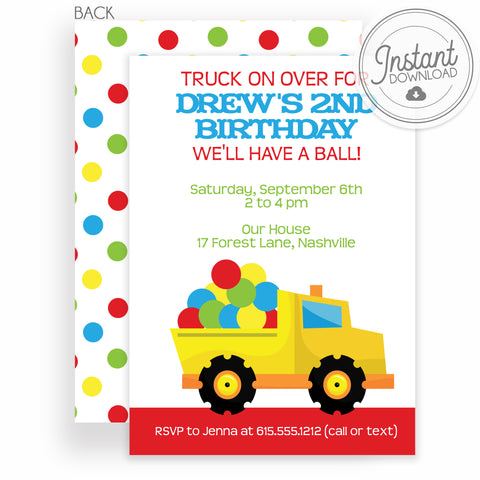 Dump Truck filled with balls Birthday Invitation | Templett Invitation | Instant Download DIY | PIPSY.COM