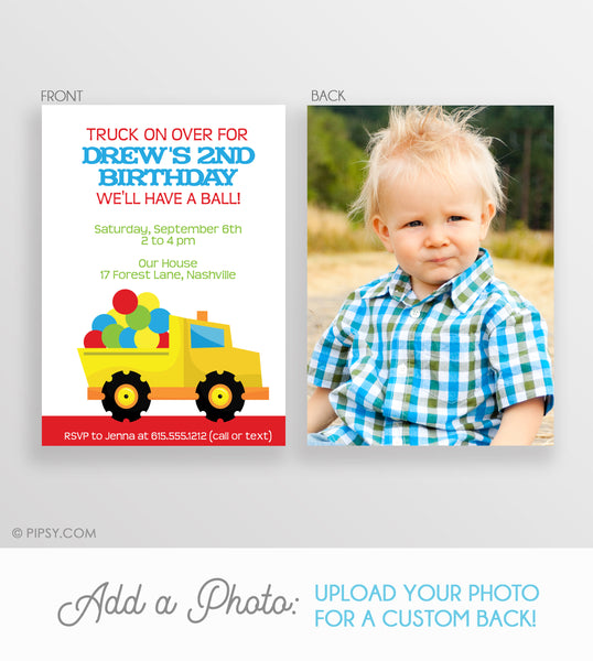 Dump Truck filled with Balls Invitation (DIY Printable)