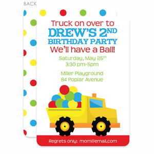Dump Truck and Ball Birthday Invitation | Swanky Press | Red, Blue & Green