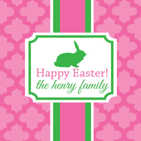Elegant Easter in pink and green square gift tags