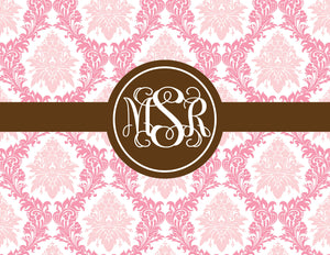 Elegant floral in pink with brown monogram folded notecards