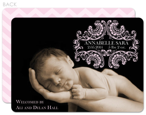 pink elegant birth announcement