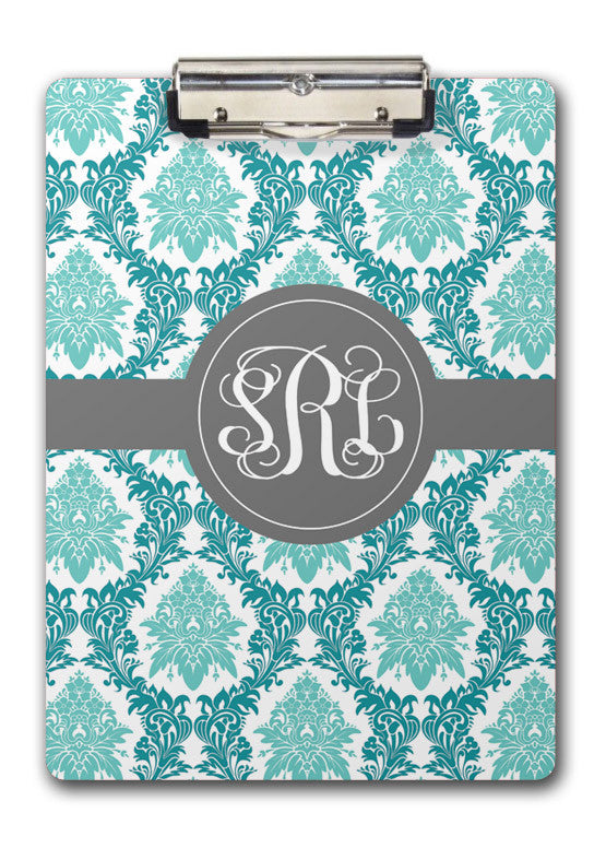Elegant aqua floral monogrammed in grey on two-sided clipboard