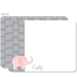 Pink Elephant and Dots Flat Notecard | Swanky Press | Pink & Gray