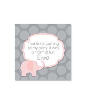 Pink Elephant Party Cardstock Favor Tag | Swanky Press | Front