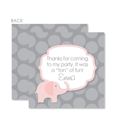 Elephant Party Cardstock Favor Tag | Swanky Press | Pink