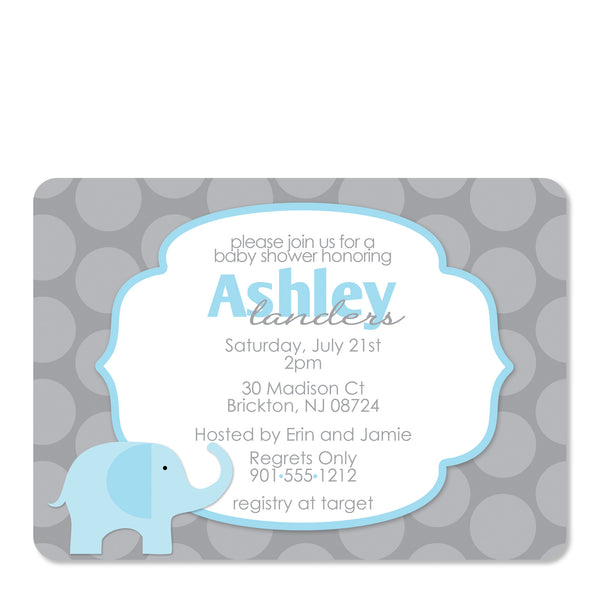 Blue Elephant Baby Shower Invitation