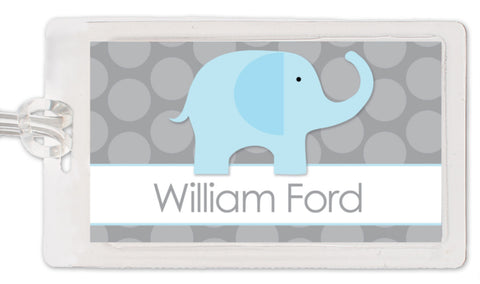 Blue elephant on grey polka dots bagtag
