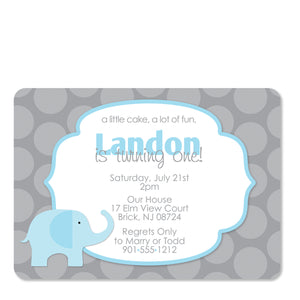 Elephant Birthday Invitations, Blue (Printed)