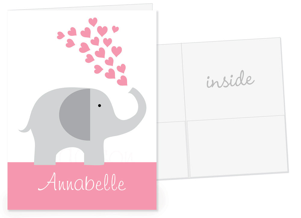 Elephant with pink hearts and name band for pocket folder