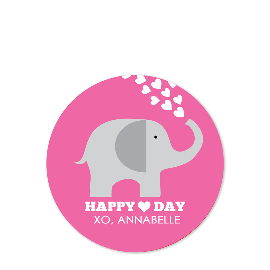 Elephant Valentine's Day Stickers, Pink with Hearts, PIPSY.COM