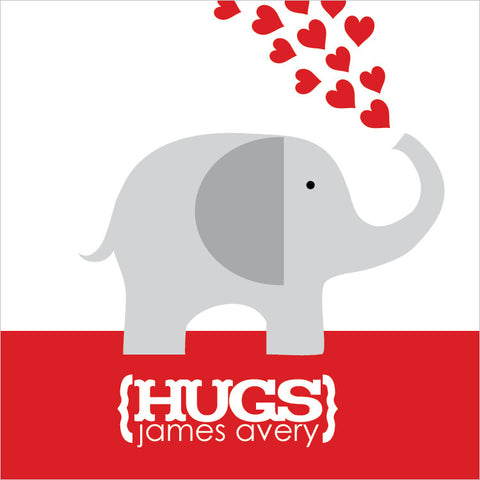Grey elephant with red hearts for Valentine's day