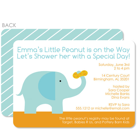 Elephant With Peanut Shower Invitation