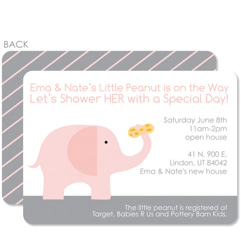 Pink Elephant With Peanut Shower Invitation