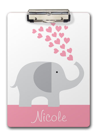 Elephant with Pink Hearts Clipboard | SwankyP res