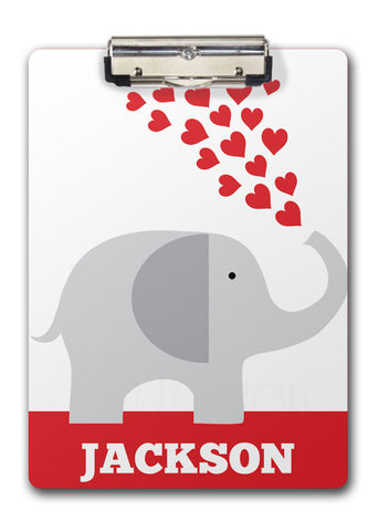 Elephant with Red Hearts Clipboard | Swanky Press