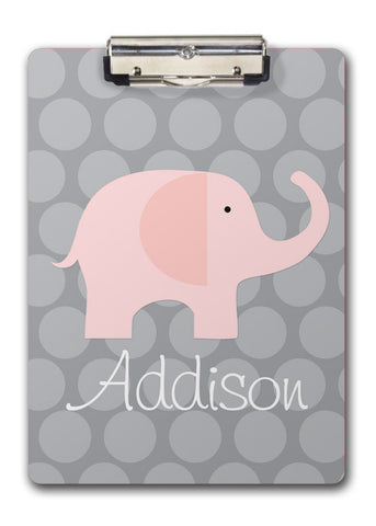 pink elephant on grey polka dots personalized kids clipboard
