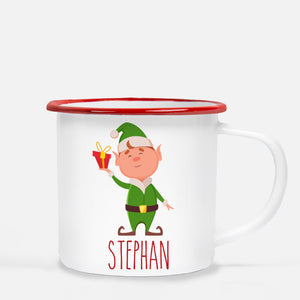 Christmas Camp Mug, Elf with Present, Personalized, Pipsy.com, red lip