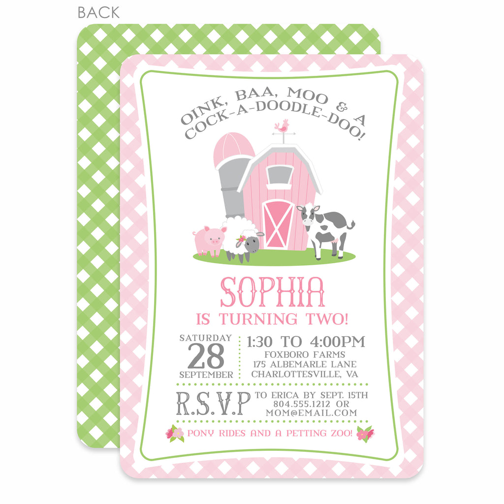 Farm Party Birthday Invitation, Pink (Printed) – Pipsy