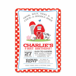 Red Farm Party Birthday Invitation | Swanky Press | Front