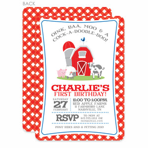 Farm Party Birthday Invitation | Swanky Press | Red and Blue