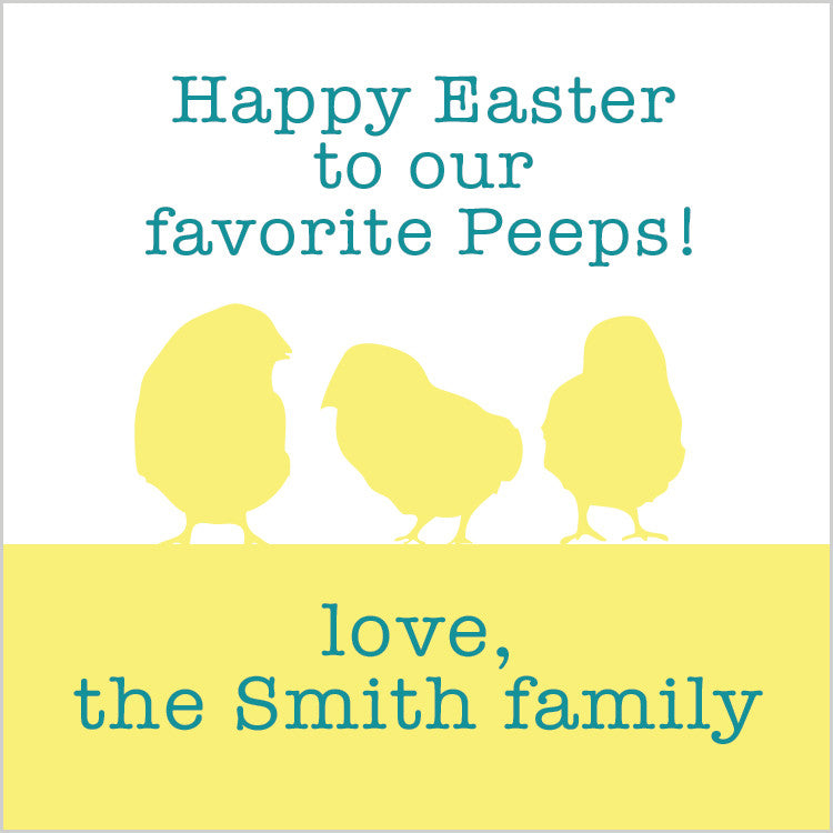 Favorite peeps square Easter gift tag with yellow chicks and aqua