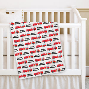 Fire Truck Baby Blanket | Personalized | PIPSY.COM | crib blanket