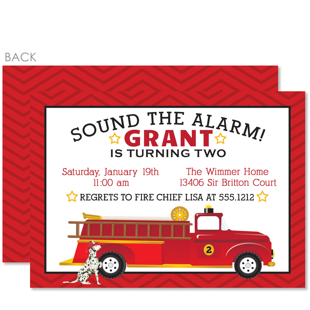 Fire Truck Birthday Invitations, Red – Pipsy