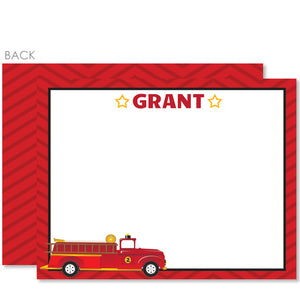 Fire Truck Party Flat Notecard | Swanky Press | Red
