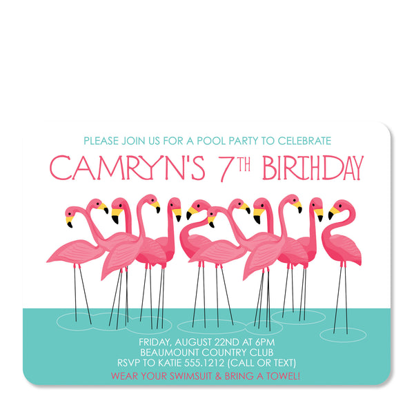 Pink Flamingo Party Birthday Invitation | Swanky Press | Front