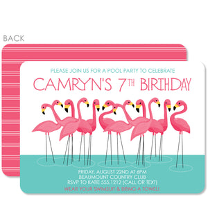 Flamingo Party Birthday Invitation | Swanky Press | Pink & Aqua