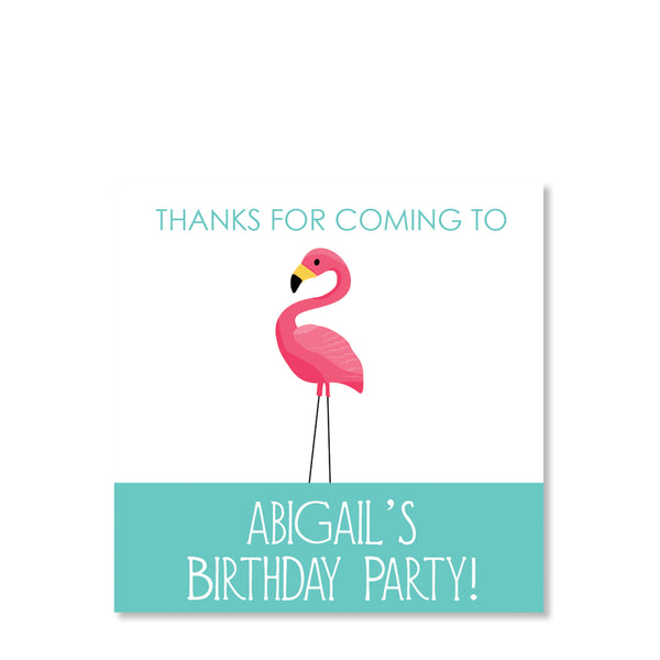 Pink Flamingo Party Cardstock Favor Tags | Swanky Press | Front