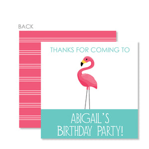Flamingo Party Cardstock Favor Tags | Swanky Press | Pink & Aqua