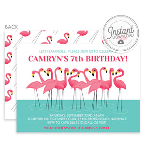 Flamingo Birthday Party Invitation, Pool Party, Instant Download Templett, Pipsy.com