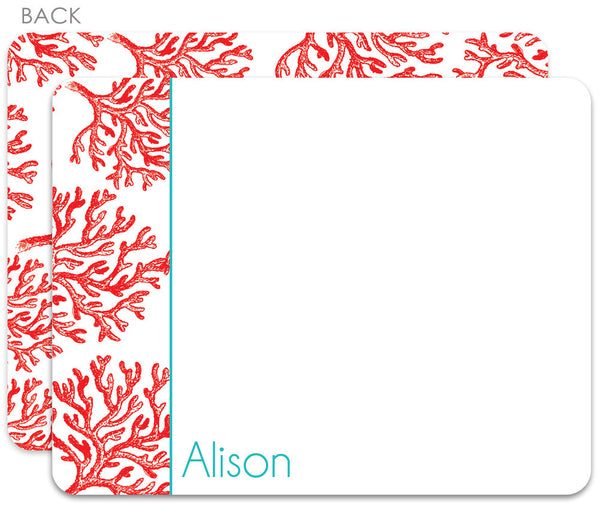 Red coral with peacock flat notecards