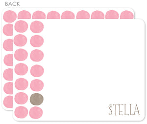 Pink watercolor dot with brown flat notecards