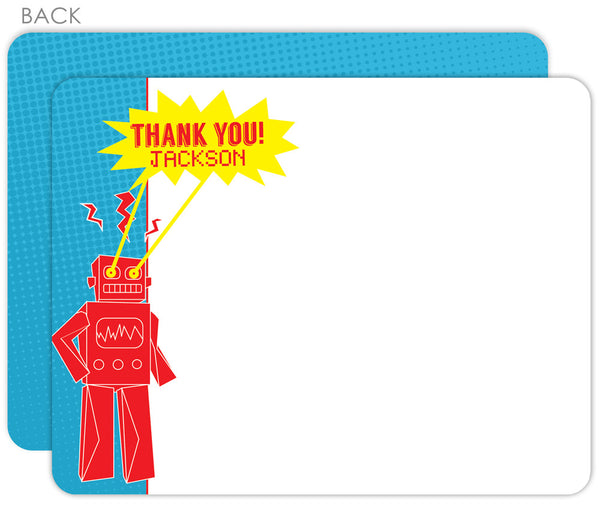 robot with laser eyes flat thank you note