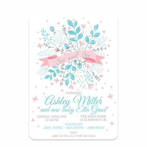 Floral Ribbon Sip And See Invitation
