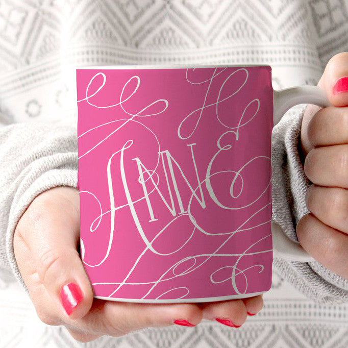 Hot Pink Flourish Coffee Cup