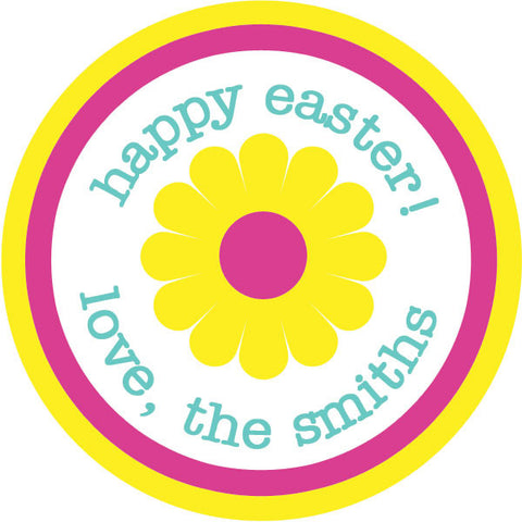 Round flower gift stickers in pink and yellow for Easter