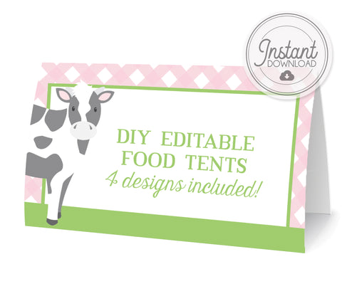 DIY Printable Farm Party Food Tents, Cow, Pink Green Gingham, Templett, PIPSY.COM