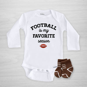 Football is my favorite season Gerber Onesie®. White onesie with black text and football illustration. Text can be changed to your favorite team colors on request, long sleeved, Pipsy.com