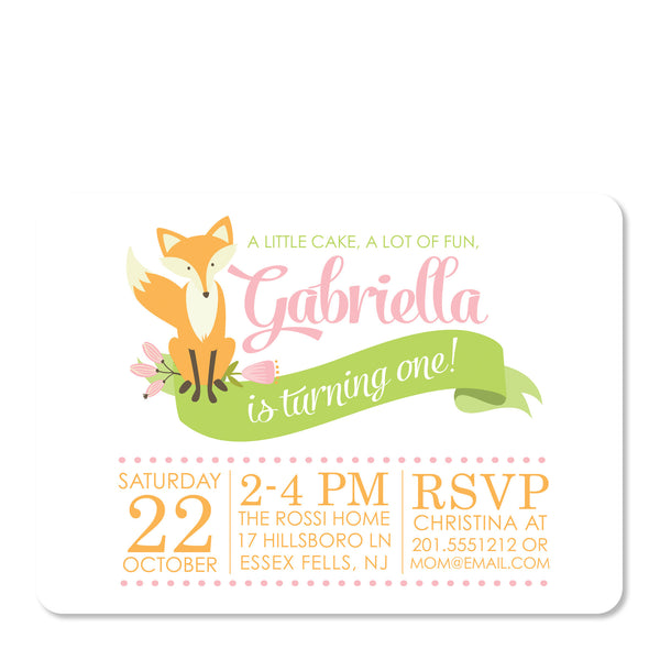 Pink Fox Invitation | Swanky Press | Front