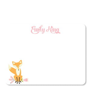 Pink Fox Flat Notecard | Swanky Press | Front