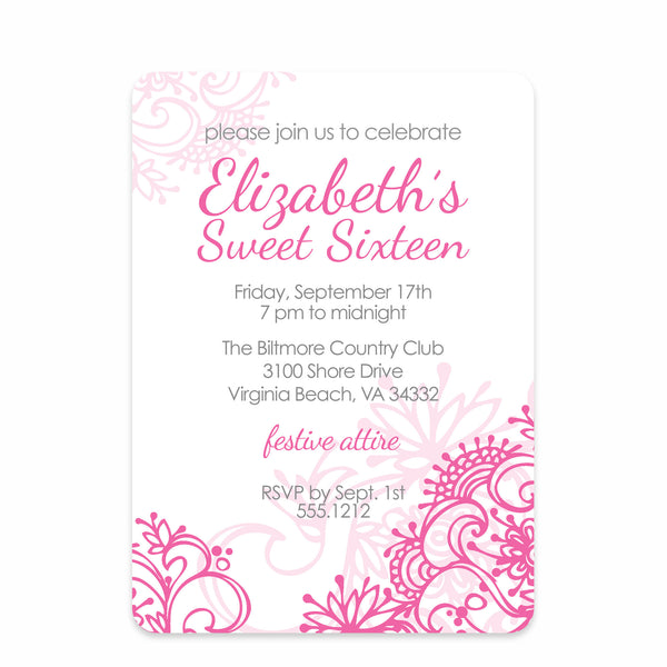Fresh Flowers Sweet Sixteen Birthday Invitation | Swanky Press (front view)